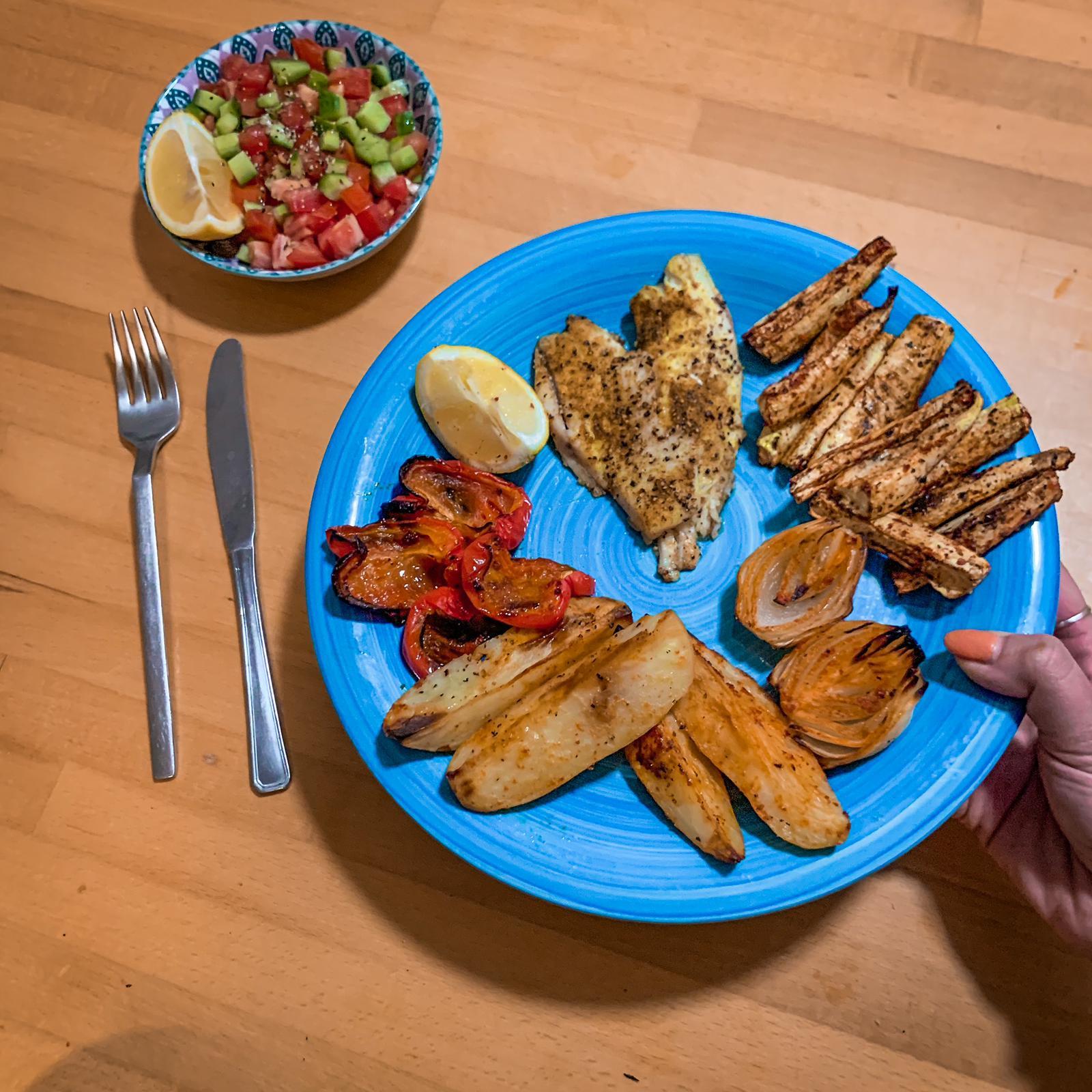 אמנון בתנור עם ירקות שאוהבים